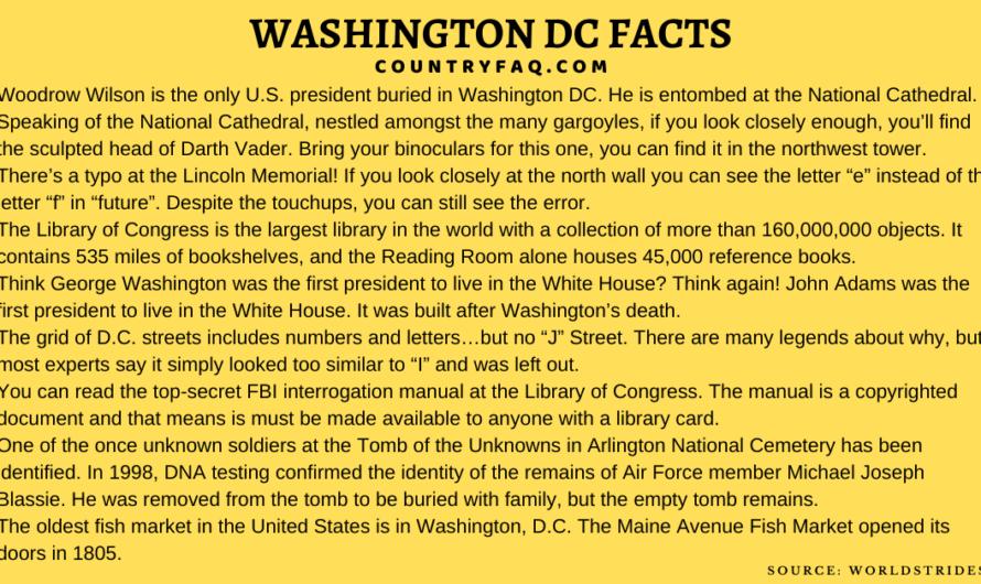 75 Awesome Washington DC USA Interesting Fun Facts