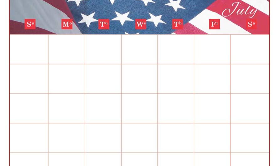 National Days in July – Overview Calendar July