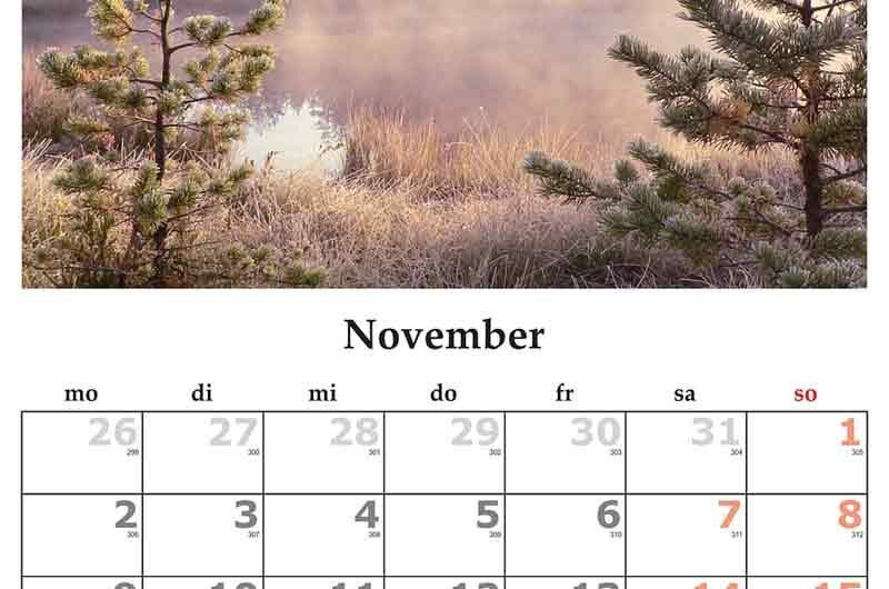 National Days in November – Overview Calendar