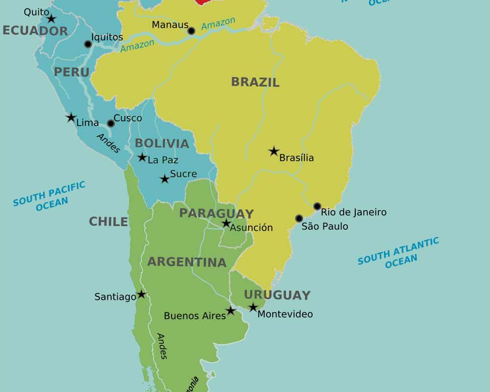 Countries in South America and their capitals